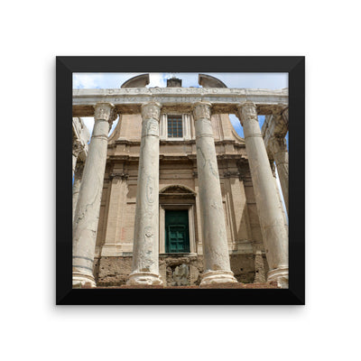 framed photo paper poster with temple of antoninus and faustina in r