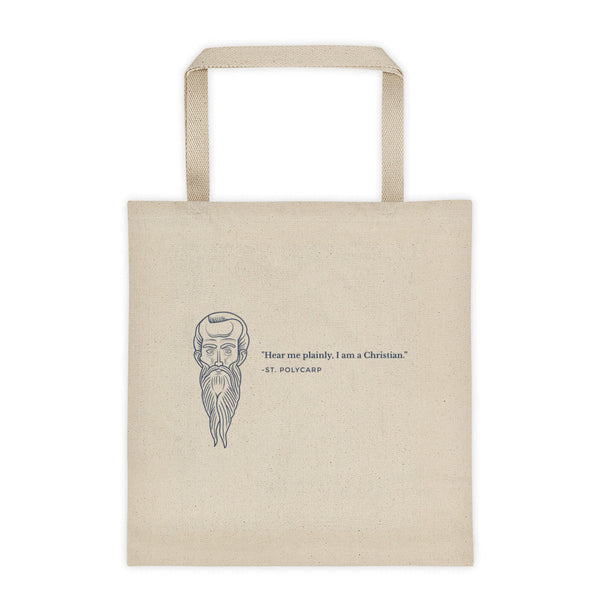 Tote bag - With St. Polycarp's image and quote (steel gray mage)