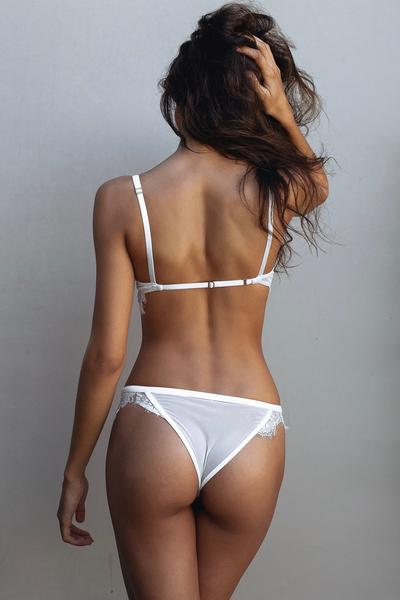 White Lace Corset Bra and Under Set