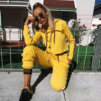 Yellow Crop Hoodie Tracksuit and Pant Set - Avalon88