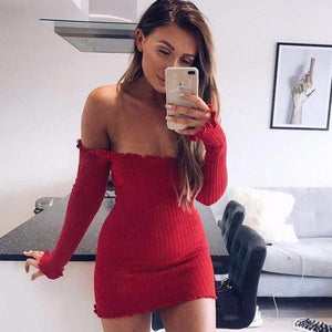 Off the Shoulder Ribbed Mini Dress