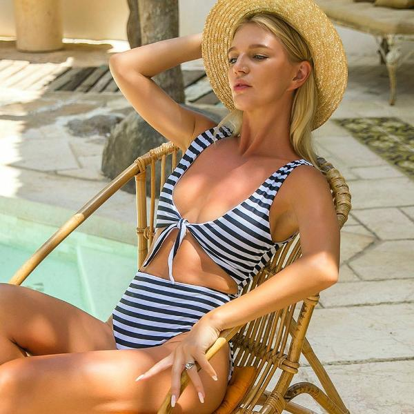 Striped Crop One Piece Swimsuit - Avalon88