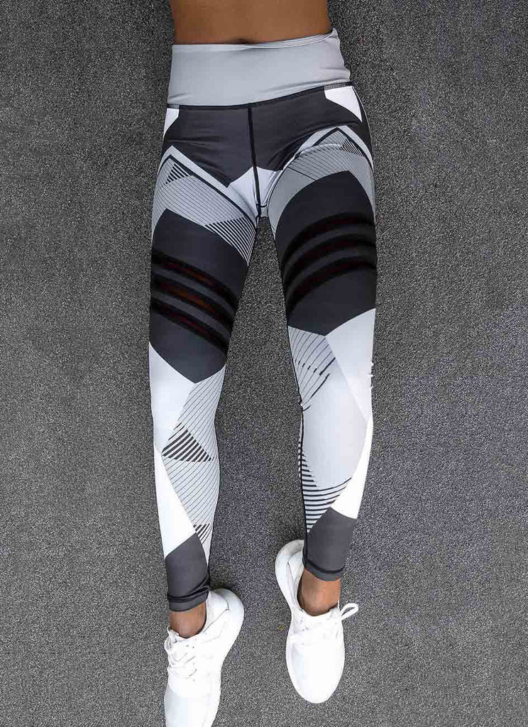 White and Grey Geometry Print Leggings - Avalon88
