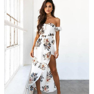 Off Shoulder Floral Maxi Dress - Avalon88