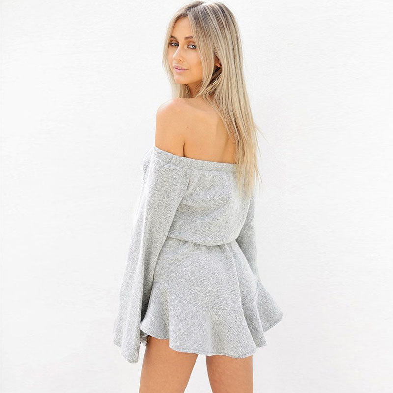 Grey Off the Shoulder Sweatshirt Dress
