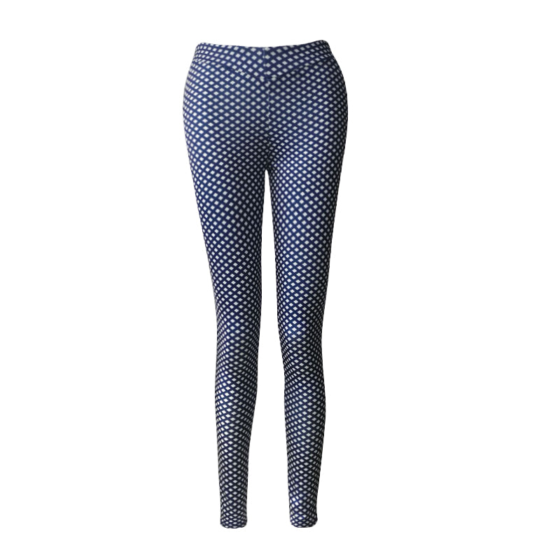 Blue White Textured Active Leggings - Avalon88