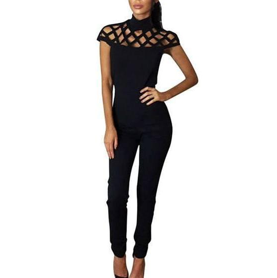 Black Caged High Neck Body Suit - Avalon88