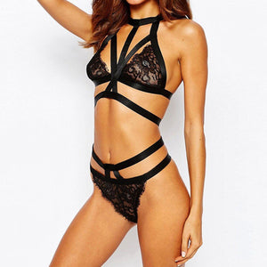 Black Caged Lace Bra and Underwear Set - Avalon88