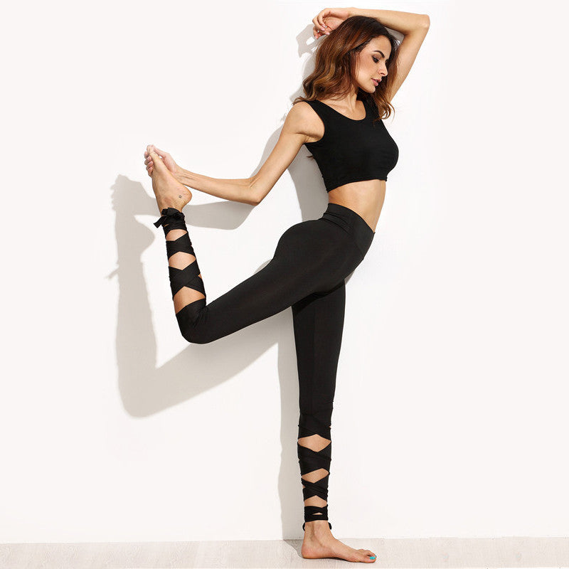 Black Tie Up Ballet Leggings - Avalon88