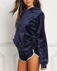 Velvet Hoodie and Shorts Set