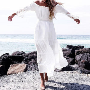 Flare Sleeve Beach Party White Dress