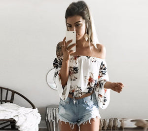 Floral Chiffon Off Shoulder Blouse - Avalon88