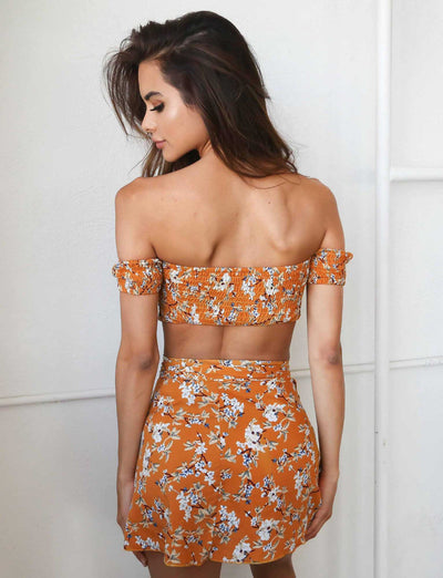 Floral Off Shoulder Skirt Set - Avalon88