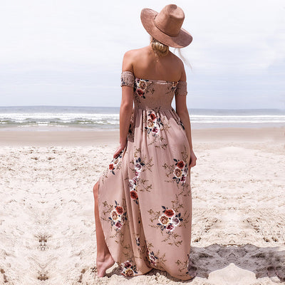 Floral Off the Shoulder Slit Maxi Dress - Avalon88