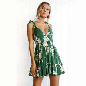 Green Floral Print Dress - Avalon88