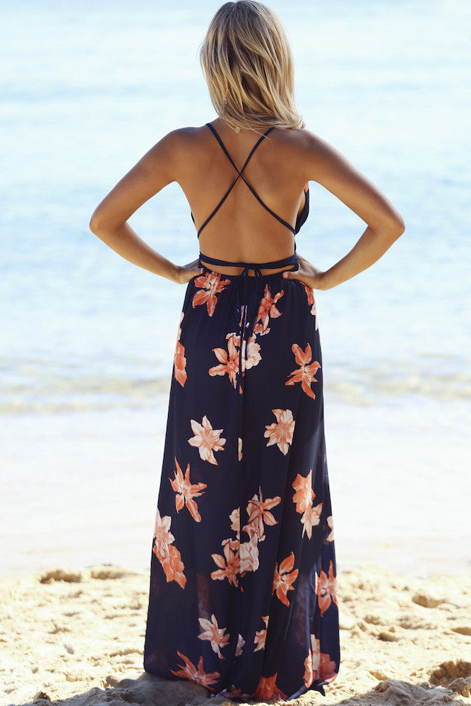 Navy Floral Maxi Dress - Avalon88