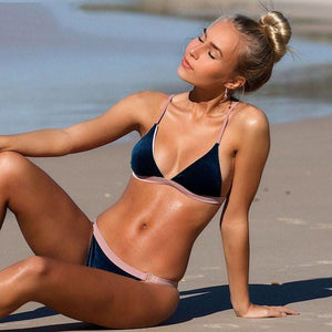 Navy Velvet Belt Bikini - Avalon88