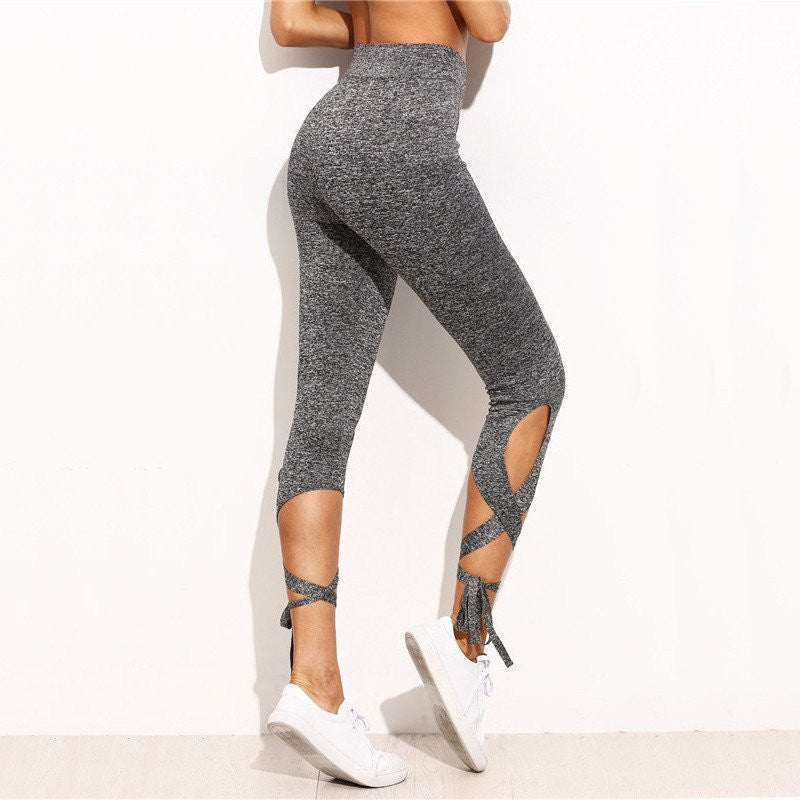 Grey Lace Up Active Leggings