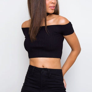Ribbed Off the Shoulder Crop Top