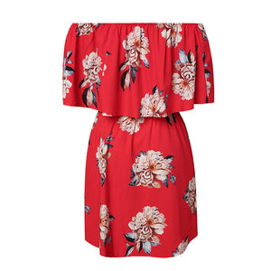 Red Floral Off Shoulder Summer Dress