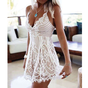 White Lace Detail Playsuit - Avalon88
