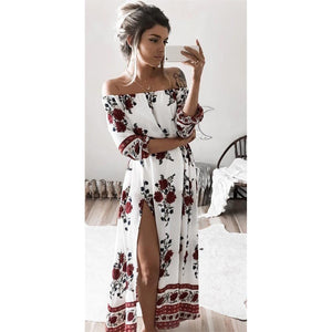 White Off the Shoulder Red Floral Print Maxi Dress - Avalon88