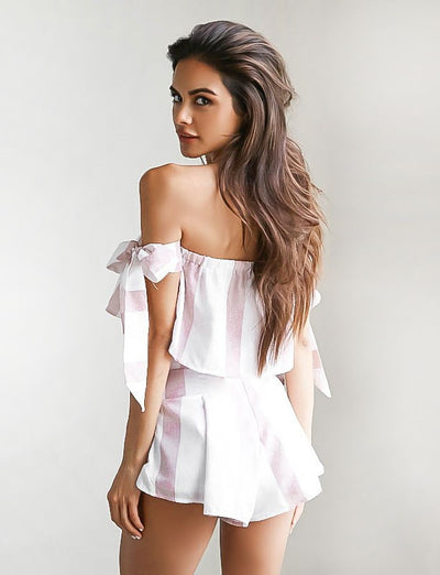 White Striped Playsuit - Avalon88