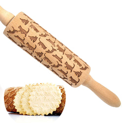 Cat Pattern Wooden Rolling Pin