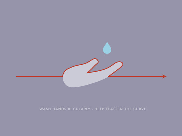 Wash hands regularly, help flatten the curve. Image created by Jack Adamson. Submitted for United Nations Global Call Out To Creatives - help stop the spread of COVID-19.
