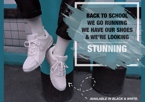 White school shoes with laces