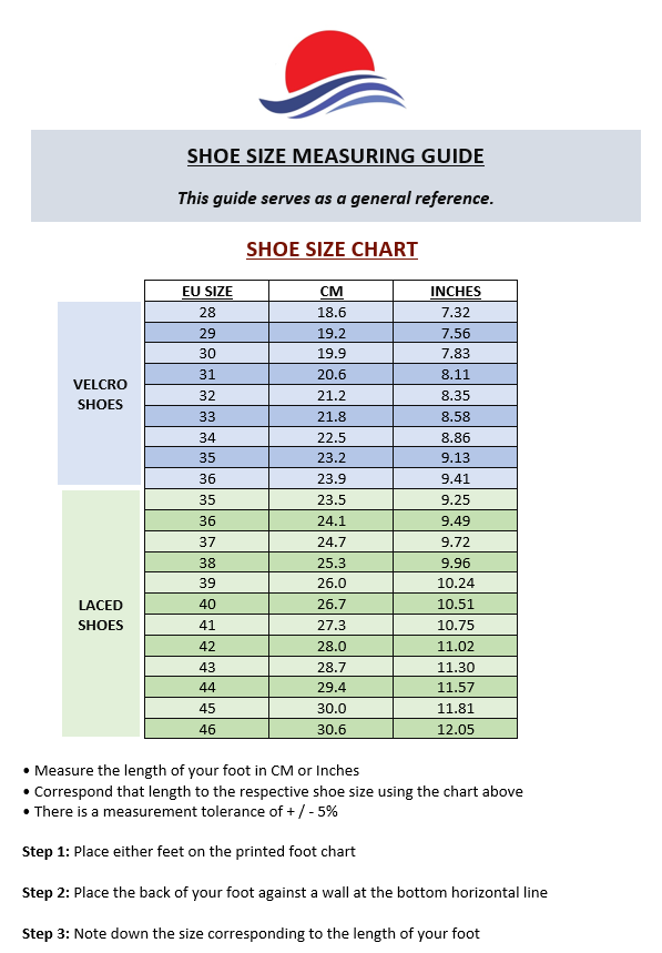 Shoe Size Chart Guide