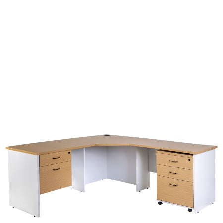 Logan Corner Workstation - New Oak / White
