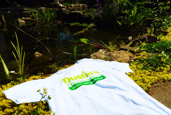 White Dustin's Fishtanks T-shirt