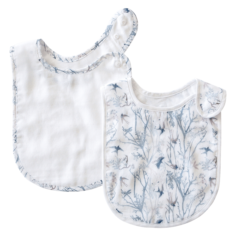 Pikku Baby | Classic Bib Set | Muslin Drool Bibs | Swallows Collection