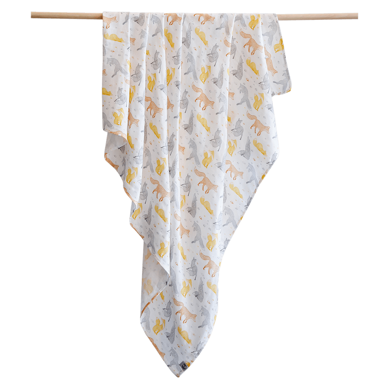 Pikku Baby | Muslin Swaddle Wrap | Playful Fox Collection
