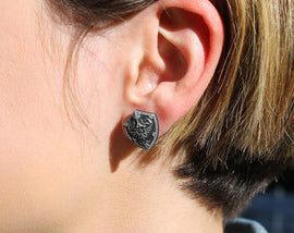 Zelda Earrings Hylian Shield -Stainless Steel Stud- Legend of Zelda Breath of the Wild  - Nintendo/Zelda Gift