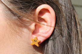Mario 8bit Power Star Earrings, Super Mario Sunshine, Mario Jewelry, Nintendo Gift