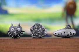 Zelda Cufflinks *Majoras Mask, Ocarina, Hylian Shield* Legend of Zelda Breath of the Wild - Nintendo/Zelda Gift