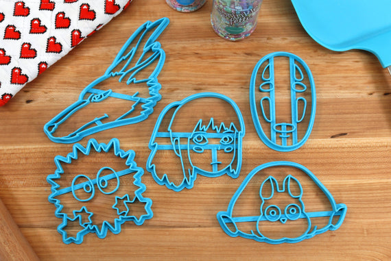 Spirited Away Cookie Cutters - Chihiro, Boh Mouse, Haku Dragon, No Face, Soot Sprite