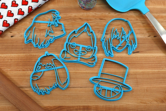 Howls Moving Castle Cookie Cutters - Calcifer, Heen, Howl Jenkins, Turnip Head, Sophie Hatter