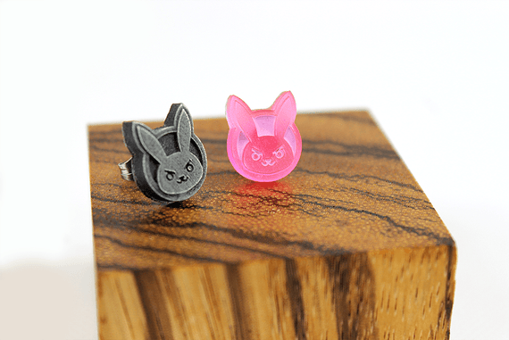 Overwatch Earrings Dva Icon -Stainless Steel Stud- Overwatch Earrings for Overwatch Gift - LootCaveCo