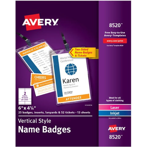 Avery® Vertical Name Badges with Durable Plastic Holders and Lanyards 8520