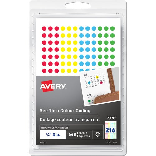Avery® See Thru Removable Colour Coding Labels 2370