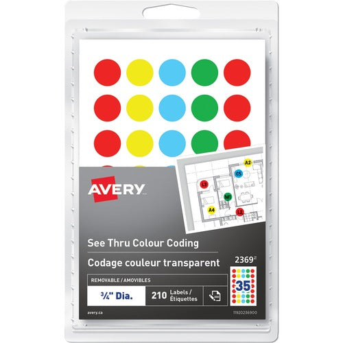 Avery® See Thru Removable Colour Coding Labels 2369