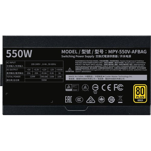Cooler Master V550 Gold - V2 Semi-Fanless Full-Modular 80 Plus Gold Power Supply MPY-550V-AFBAG-US