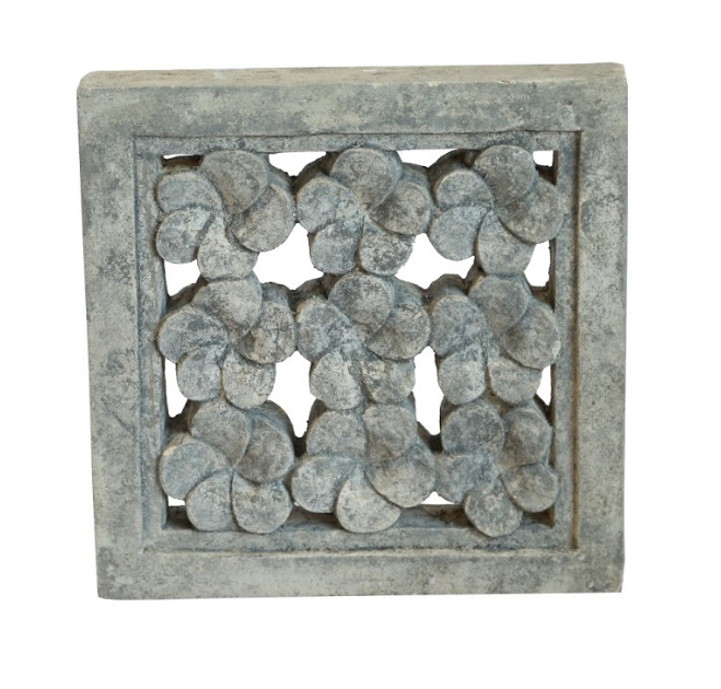 9 flower Square Carved Stone Panel