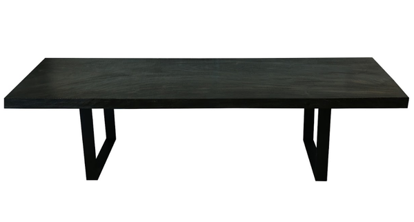 Straight Edge Acacia Slab Dining Table (Triple Burnt and Chainsaw Texture)