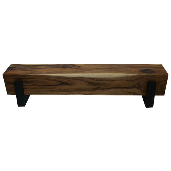 Acacia Wood Block Bench with Metal Legs