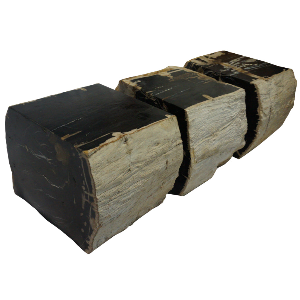 polished rough edge 3 piece petrified wood bench