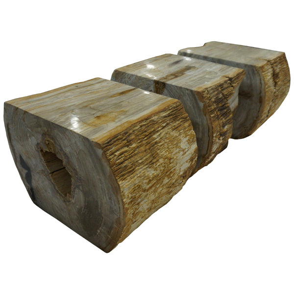 polished rough edge 3 piece petrified wood bench front view